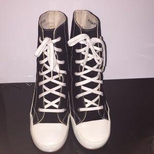 Rampage Whipple Black/White Fabric Tennis Heels